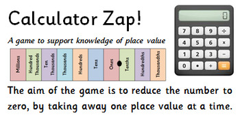 Calculator Zap! A game to promote place value knowledge