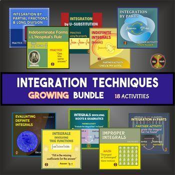 CALCULUS INTEGRATION: Techniques of Integration - Activities BUNDLE
