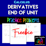 Calculus Finding Derivatives End of Unit 44 questions | Distance Learning