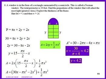Calculus Derivatives Max Min Optimization Worksheet and Powerpoint