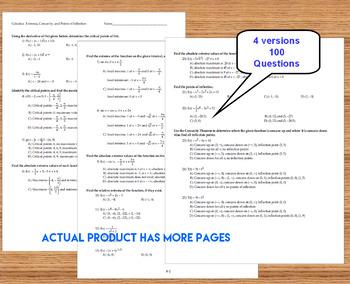 Calculus Extrema Derivatives - 4 Tests plus Graphic Organizer