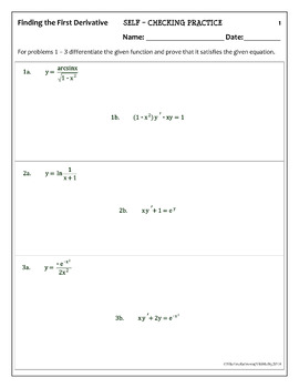 Calculus: First & Second Derivatives - Self-Checking Practice (typed solutions)