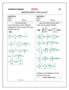 Calculus Integration : Indefinite Integrals - Partner Activity (full solutions)