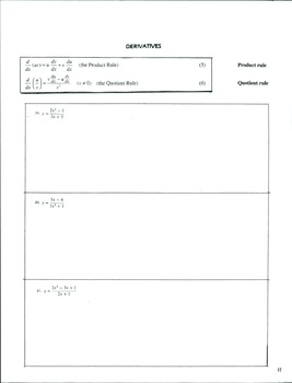 Calculus 1 Set #1 Pg 11-12  Derivatives