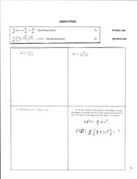 Calculus 1 Set #1 Pg 15-17  Derivatives