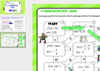 Calculus 1st Derivative Test Maze with GOOGLE Slides™