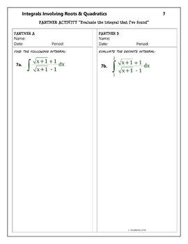Calculus Integration : Integrals Involving Roots & Quadratics - Partner Activity