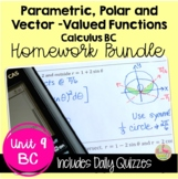 Parametrics Polars and Vectors Homework (Calculus 2 - Unit 8)