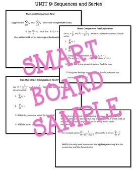Sequences and Series SMART Board® Lessons (Calculus 2 - Unit 9)