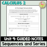 Sequences and Series Guided Notes (Calculus 2 - Unit 9)