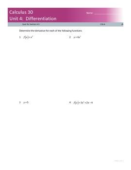 Calculus 30 Power Rule Derivative Quiz