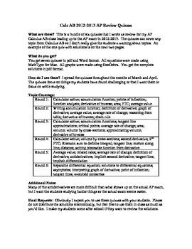 Calculus AB AP Exam Review Quizzes (2012-2013 Edition)
