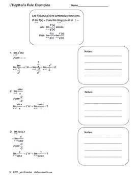 Calculus L'Hopital's Rule Task Cards Organizer Notes
