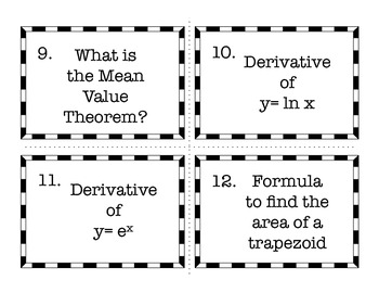 Calculus AB Card Sort - Important Info to Memorize Before the AP Exam