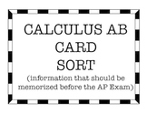Calculus AB Card Sort - Important Info to Memorize Before