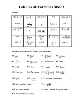 Calculus AB Formulas BINGO