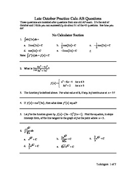 Calculus AB Late October Practice Exam