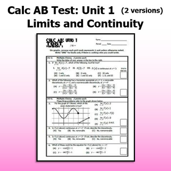 Calculus AB Test - Unit 1 - Limits and Continuity - TWO VERSIONS