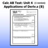 Calculus AB Test - Unit 4 - Applications of Derivatives B - ONE VERSION