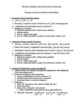 Calculus AB Test - Unit 7 - Integrals w/ Transcendentals - ONE VERSION
