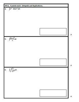 Calculus AB Test - Unit 7 - Integrals w/ Transcendentals - TWO VERSIONS