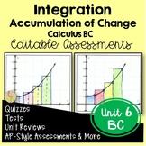 Calculus Integration Assessments (BC Version - Unit 6)