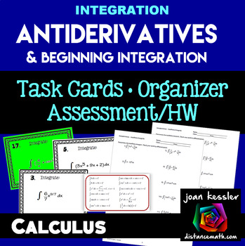 Calculus Antiderivatives Integration Task Cards  HW  Graphic Organizer