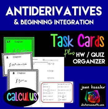 Calculus Antiderivatives, Integration, Task Cards, HW, Gra