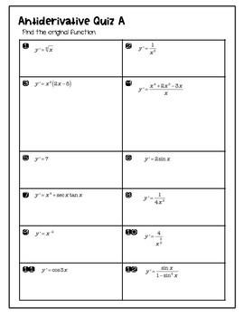 Calculus Antiderivatives Quiz aligned with Larson 4.1