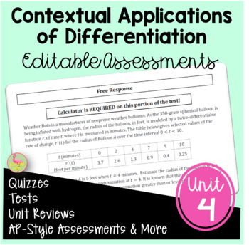 Calculus: Applications of Differentiation Assessments
