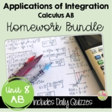 Applications of Integration Homework (AB- Version Unit 8)
