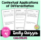 Contextual Applications of Differentiation Daily Quizzes (