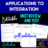 Calculus Applications to Integration Editable Unit Test and Review