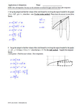 Calculus 2 Applications to Integration Editable Unit Test and Review