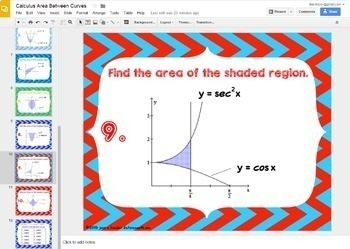 Calculus Area Between Curves GOOGLE Slides Digital Task Cards