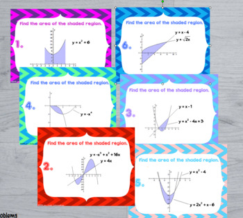 Calculus Area Between Curves  with GOOGLE Slides™ Digital Task Cards
