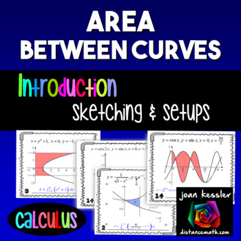 Calculus Area Between Curves Introduction Worksheet  Task or Station Cards