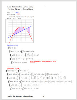 Calculus Area Between Curves Posters,  Study Guide  Handout