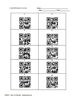 Calculus Area Between Curves Task Cards  QR