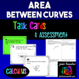 Calculus Area Between Curves Task Cards or Assessment QR