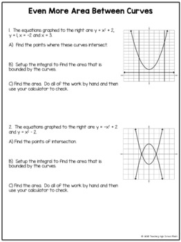 Calculus Area Between Curves Worksheet