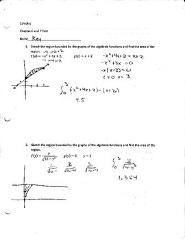 Calculus Area, Volume, and L'Hopital's rule test