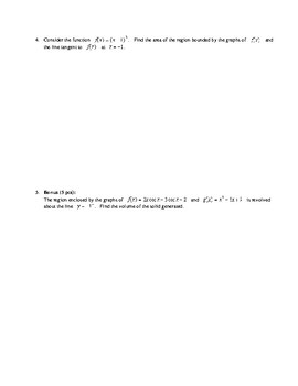 Calculus:  Area and Volume Test