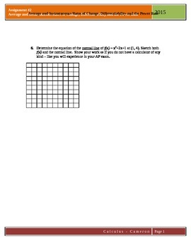 Calculus Assignment 2: Rates of change, Differentiability, Power Rule