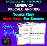 AP Calculus BC Calculus 2  Review of PreCalculus and Trig Topics