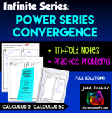 AP Calculus BC Calculus 2 Convergence of Power Series Tri Fold and Practice