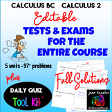 AP Calculus BC - Calculus 2 Bundle of Exams Editable