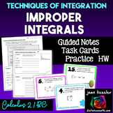 Improper Integrals  Guided Notes Task Cards Quiz for Calcu