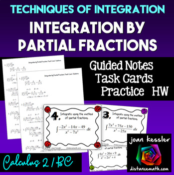 Calculus BC  Integration by Partial Fractions Task Cards  Notes  Quiz