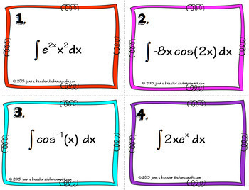 Calculus BC  Integration by Parts Task Cards HW